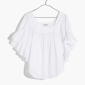 {Madewell} Flutter Sleeve Butterfly Top Size M NWT